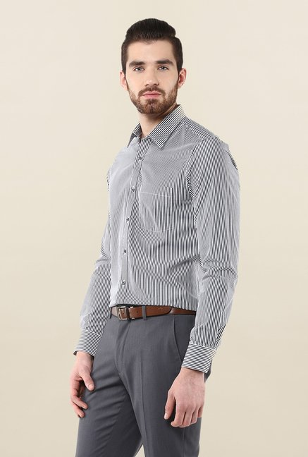 Turtle White & Black Striped Formal Shirt