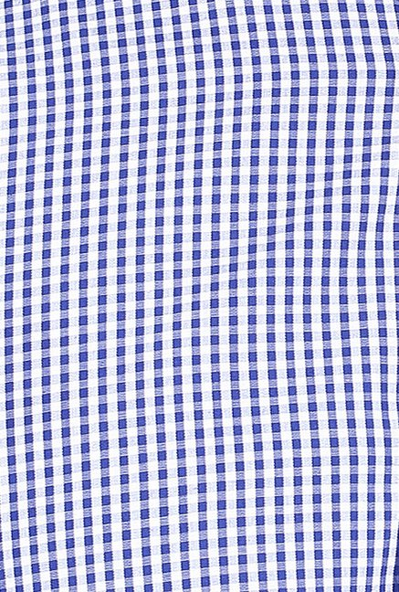 Turtle Dark Blue & White Checks Formal Shirt