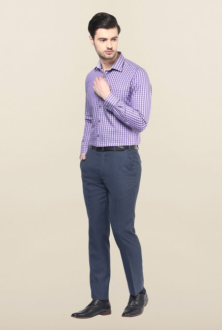 Turtle Purple Checks Formal Shirt