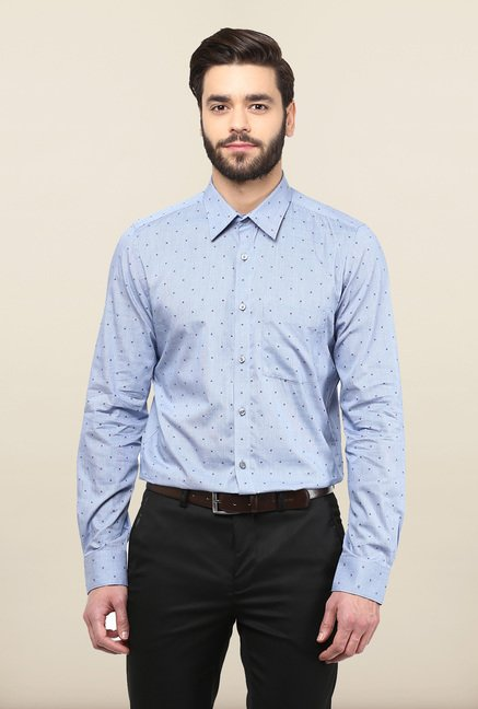 Turtle Blue Printed Formal Shirt