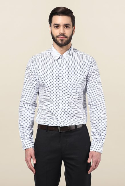 Turtle White & Blue Printed Formal Shirt