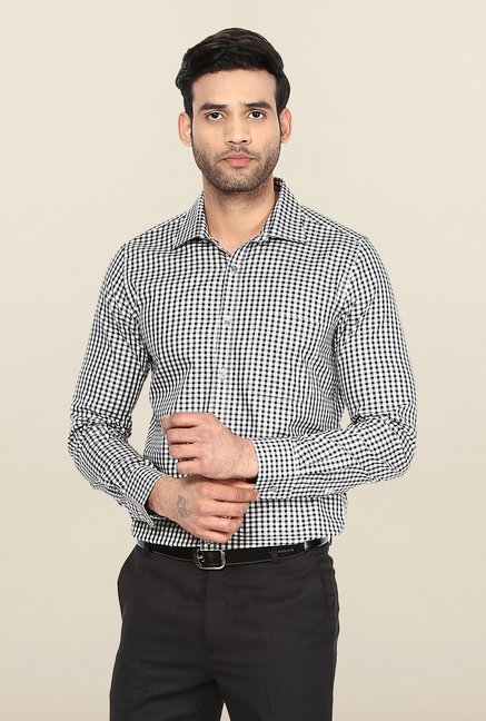 Turtle White & Black Checks Formal Shirt
