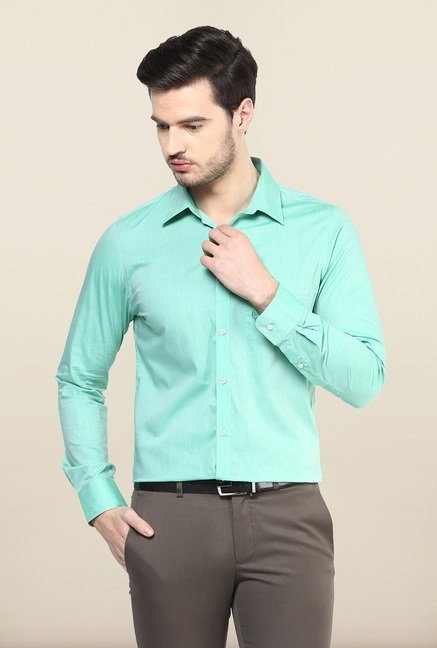 Turtle Turquoise Solid Formal Shirt