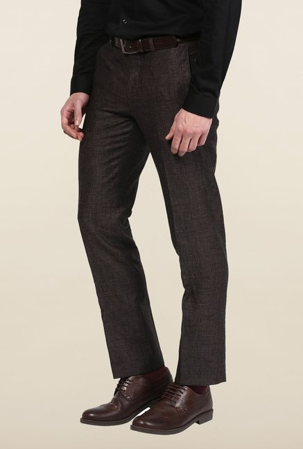 Turtle Brown Solid Formal Trousers