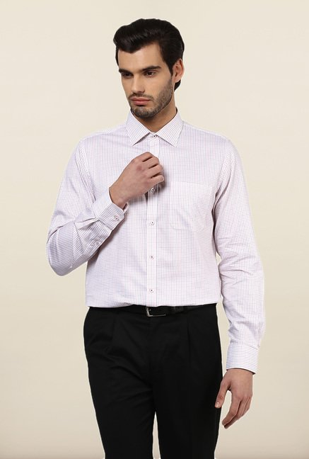 Turtle White Checks Formal Shirt