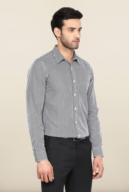 Turtle Black & White Checks Formal Shirt