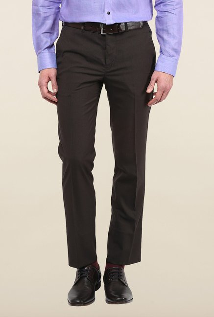 Turtle Brown Textured Formal Trousers