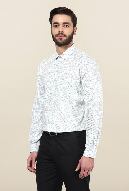 Turtle White Printed Formal Shirt