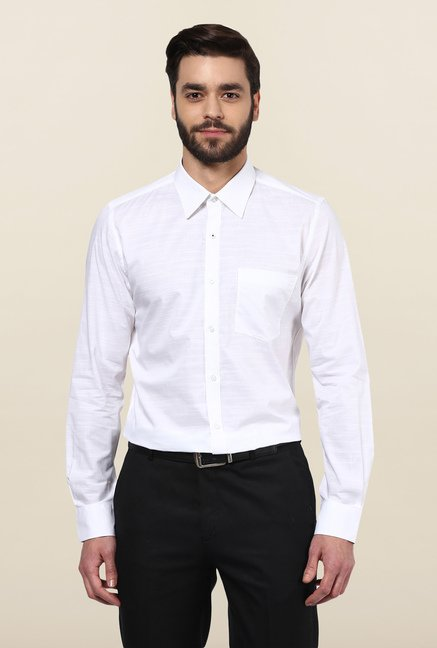 Turtle White Solid Formal Shirt
