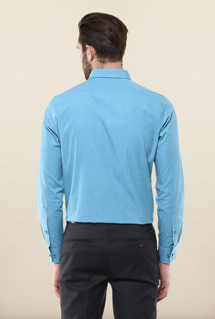 Turtle Blue Solid Formal Shirt