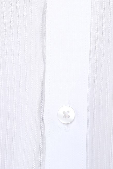Turtle White Striped Formal Shirt