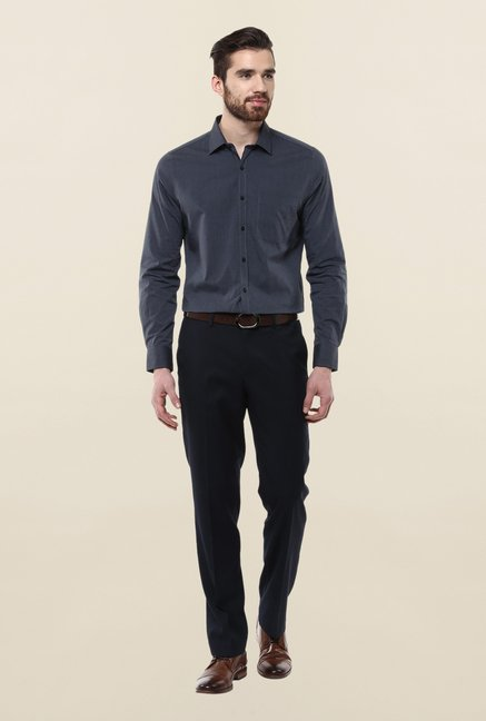 Turtle Grey Solid Formal Shirt