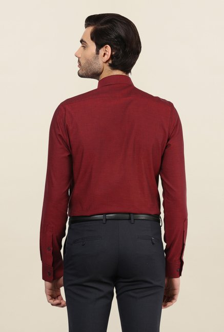 Turtle Maroon Textured Formal Shirt
