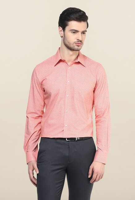 Turtle Pink Printed Formal Shirt