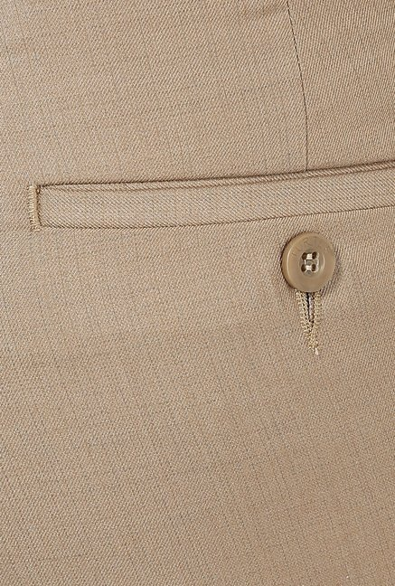 Turtle Khaki Solid Formal Trousers