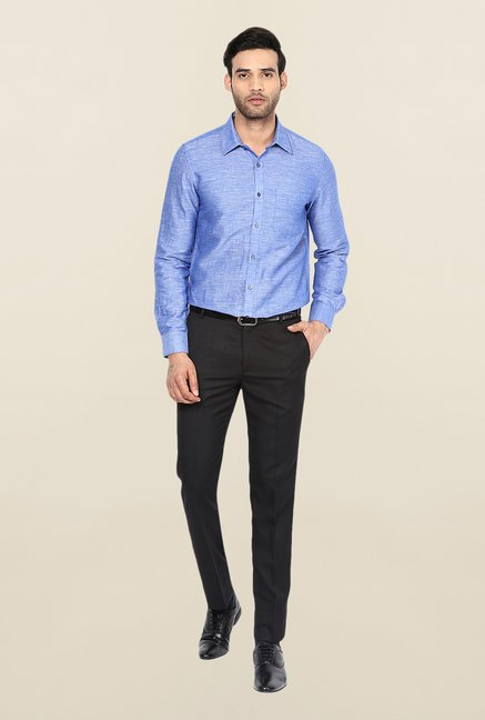 Turtle Blue Solid Linen Formal Shirt