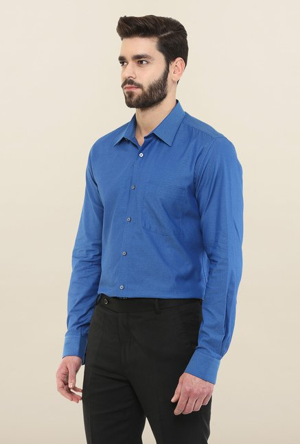 Turtle Royal Blue Textured Formal Shirt