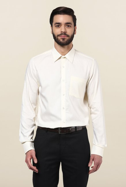 Turtle Off White Textured Formal Shirt