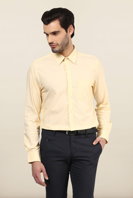 Turtle Yellow Solid Formal Shirt