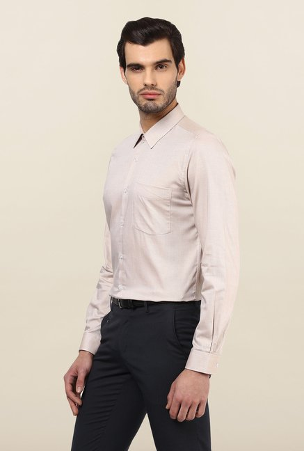 Turtle Brown Textured Formal Shirt