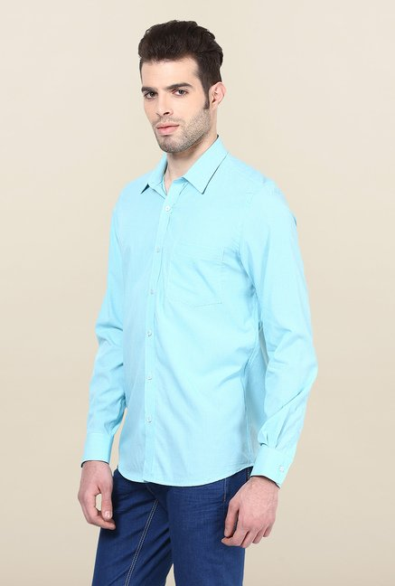 Turtle Sky Blue Checked Formal Shirt