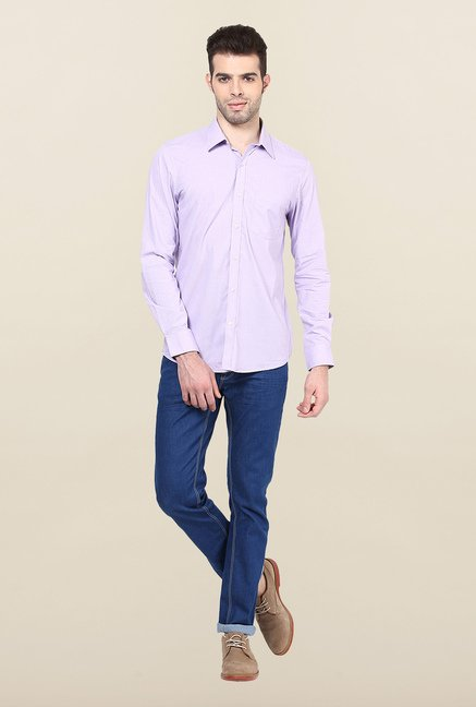 Turtle Purple Checked Formal Shirt