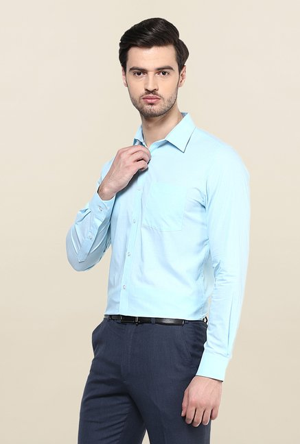 Turtle Sky Blue Solid Formal Shirt