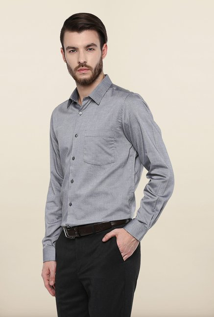 Turtle Grey Textured Formal Shirt