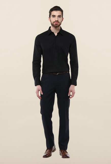 Turtle Black Textured Formal Shirt