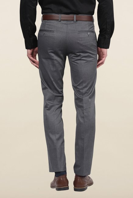Turtle Grey Textured Formal Trousers