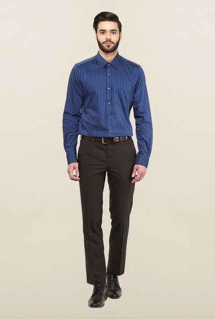 Turtle Blue Striped Formal Shirt