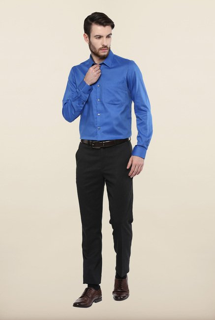 Turtle Blue Textured Formal Shirt