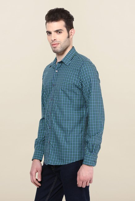 Turtle Blue & Green Checked Formal Shirt