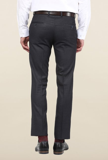 Turtle Dark Grey Solid Formal Trousers
