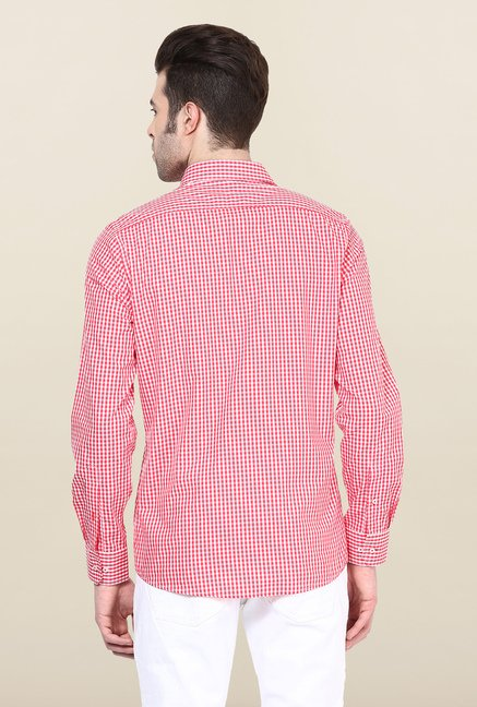 Turtle Red & White Checks Formal Shirt