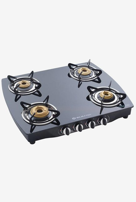 Bajaj CGX10 Glass Top 4 Burner Gas Cooktops (Black)
