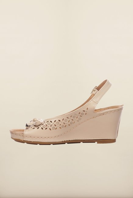 Pavers England Beige Wedge Sandals