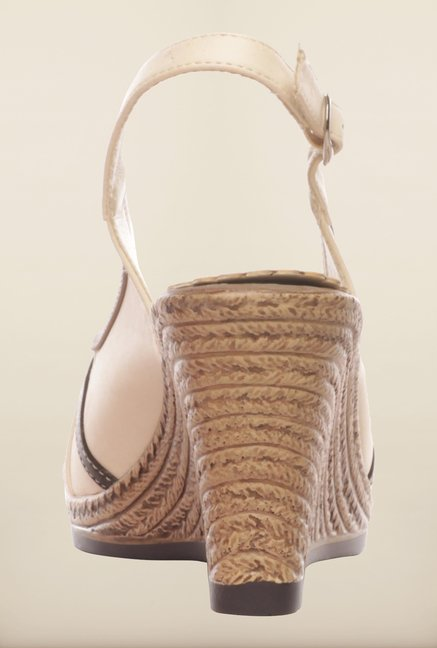 Pavers England Beige & Brown Wedge Sandals