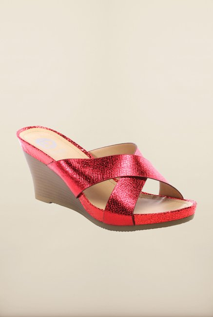 Pavers England Red Wedge Sandals