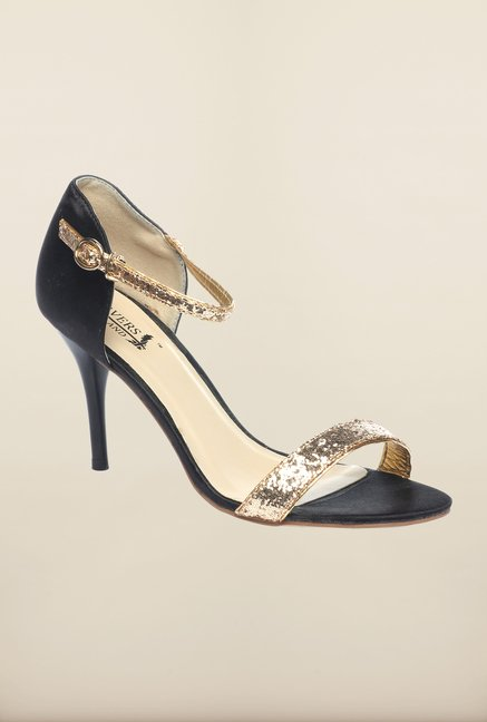 Pavers England Gold & Black Ankle Strap Stilettos