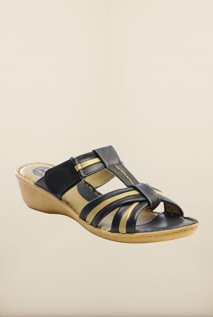 Pavers England Black Slide Wedges