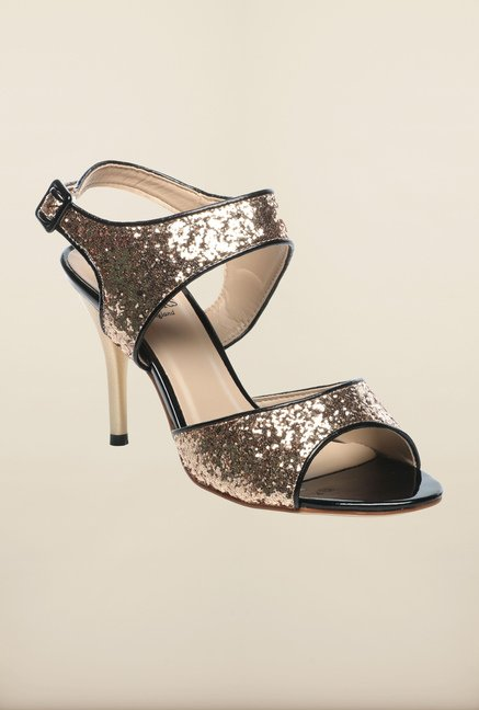 Pavers England Golden Stiletto Sandals