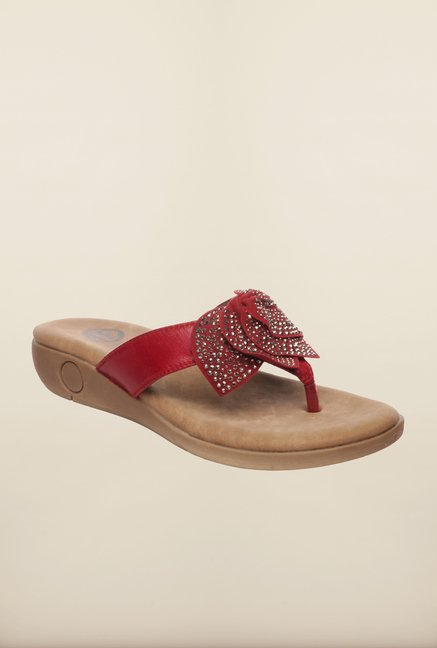 Pavers England Red Thong Sandals