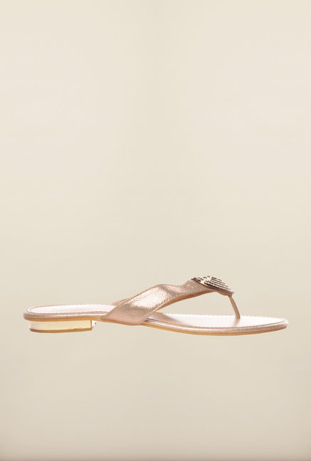 Pavers England Gold Thong Sandals