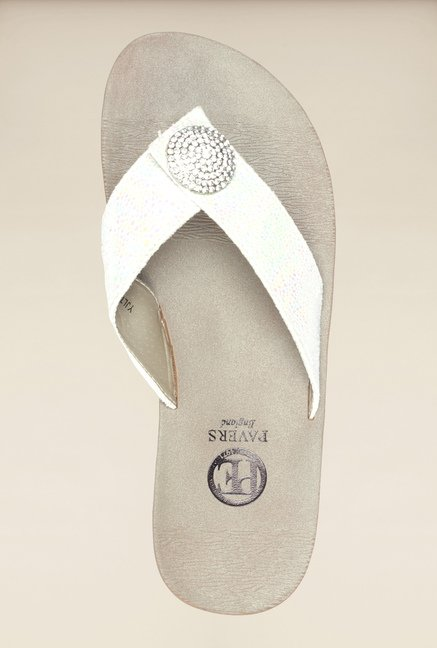 Pavers England White Thong Sandals