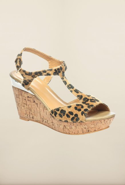 Pavers England Tan Wedge Sandals