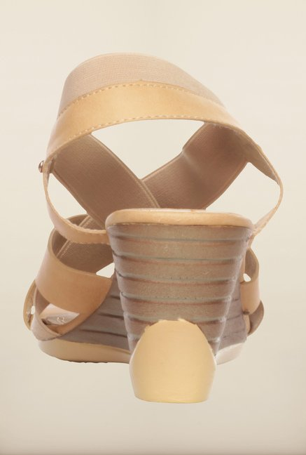Pavers England Beige Cross Strap Wedges