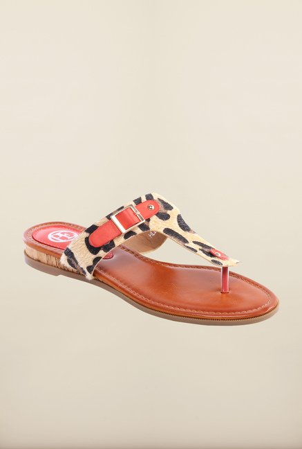 Pavers England Red & Tan Thong Sandals