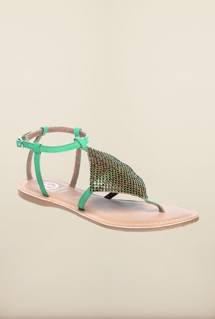 Pavers England Green Ankle Strap Sandals