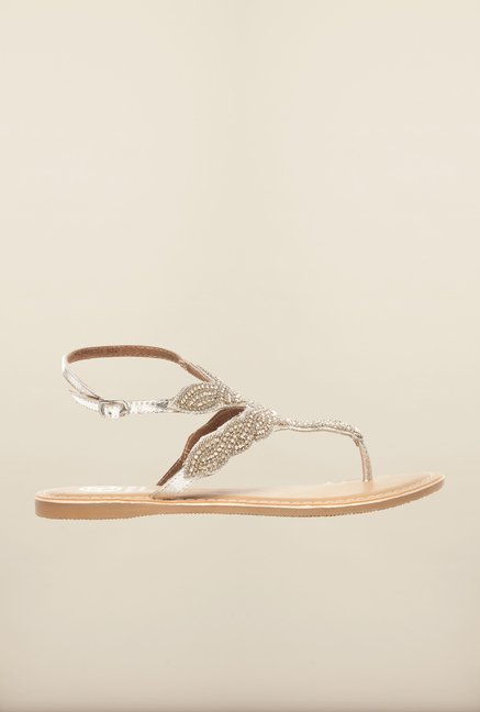 Pavers England Silver Ankle Strap Sandals